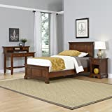 Home Styles Model 5529-4023 Chesapeake Cherry Finish Bed Night Stand and Student Desk with Hutch, Twin