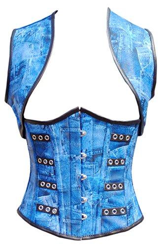 解明管理するパン屋Blue Denim Print Faux Leather Steampunk Waist Cincher Underbust Corset & Shrug