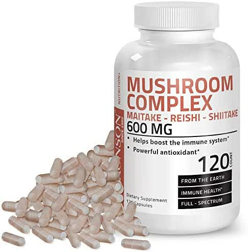 Triple Mushroom Complex - Maitake - Reishi - Shiitake - Powerful Antioxidant and Immune System Booster - Full Spectrum Mushroom Complex - 600 mg Capsules - 120 Count