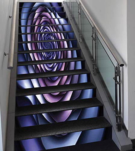 Hazy Violet - Stair Stickers Wall Stickers,13 PCS Self-adhesive,Spires Decor,Authentic Rose Petals Flower Shaped Spiral Hazy Lines New Futurist Design,Violet Purple,Stair Riser Decal for Living Room, Hall, Kids Roo