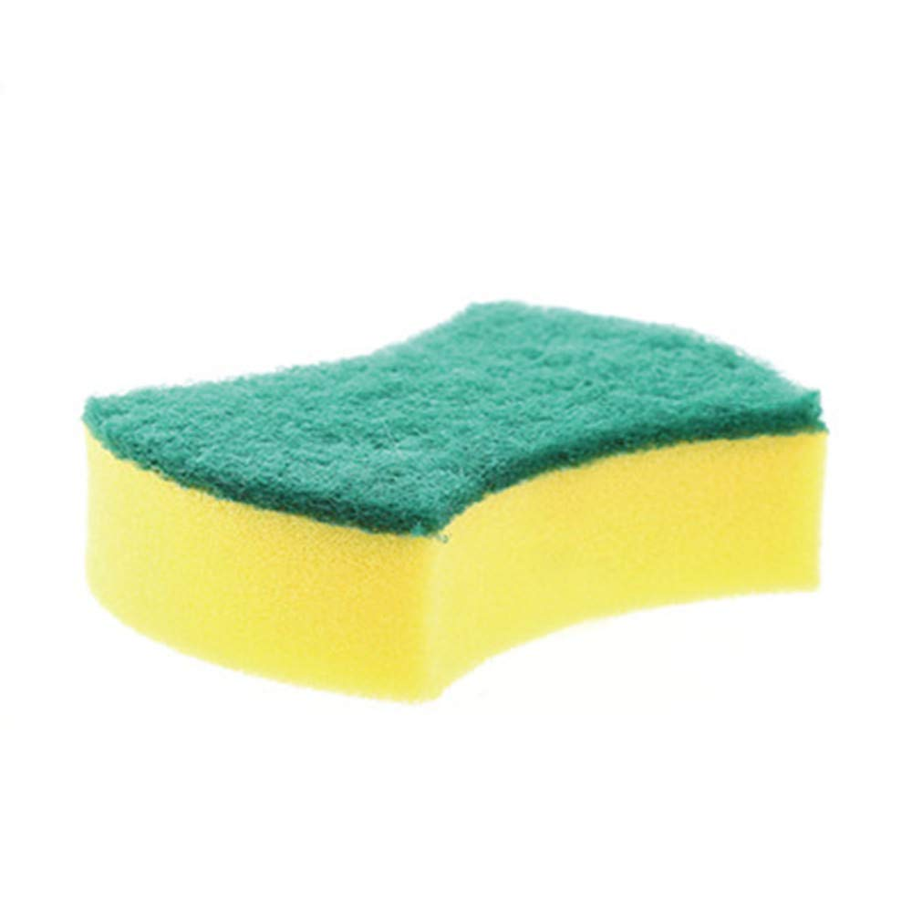 GXOK Double-Sided Strong Decontamination Cleaning Sponge,1PC Useful Dish Washing Sponge Scrubber Kitchen Cleaning Antibacterial Tool (Yellow A)