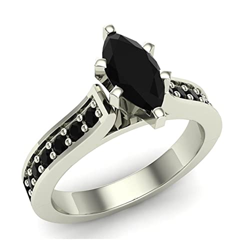 8c0d08fc4dbf4 Marquise Cut Black Diamond Engagement Ring 1.00 ctw 14K Gold on ...