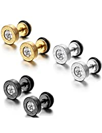 Flongo Men's Unisex Vintage 8mm Stainless Steel Round Glass Greek Tunnel Illusion Plugs Barbell Stud Earrings