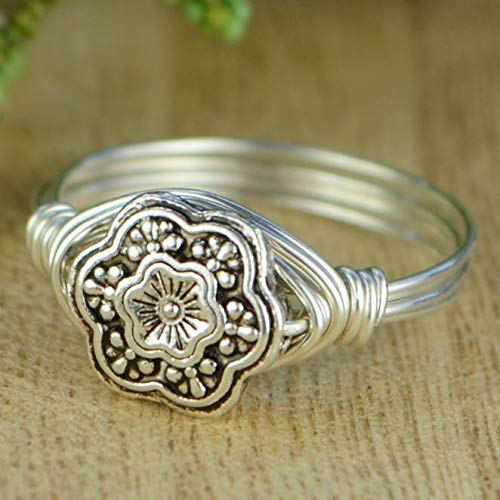 Flower Bead with Sterling Silver, Yellow or Rose Gold Filled Wire Wrapped Ring- Custom made to size 4-14