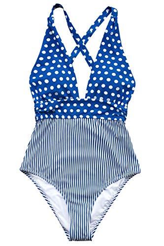 (CUPSHE Women's Blue Polka Dots Stripes Print High Cut One Piece Swimsuit, S)