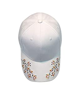 VEFSU Women Embroidery Cotton Baseball Cap Snapback Caps Casual Hip Hop Hats (White)