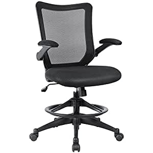 Devoko Office Drafting Chair with Flip-up Arms Reception Desk Chair Tall Office Computer Task Chair with Adjustable Footrest Ring (Deep Black)