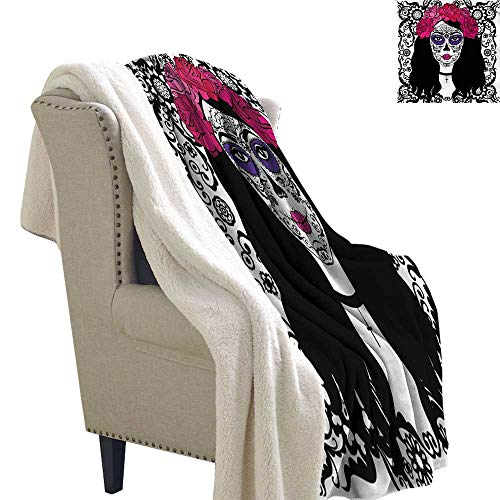 AndyTours Sherpa Fleece Blanket Sugar Skull Girl with Make Up Autumn and Winter Thick Blanket W59 x -