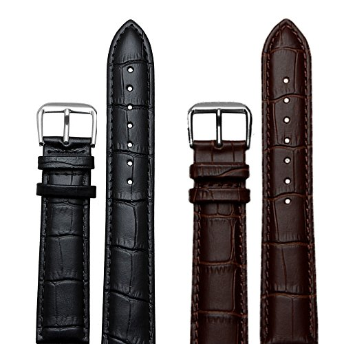 Brown Synthetic Leather Band ((Twin Pack) 20mm Leather Watch Strap)