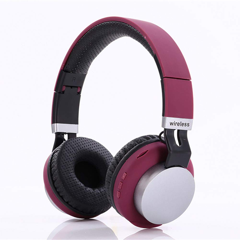 Jrjq Bluetooth Over Ear Headphones with Microphone, Noise Cancelling Foldable Wireless Headset Comfortable Protein Earpads Earphone Surround Sound-Pink
