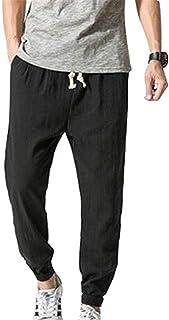 Pantaloni da Spiaggia da Uomo Lino Pantaloni di Sciolto Pantaloni da Giovane Uomo 3/4 Pantaloni A Maniche Lunghe di Colore Solido con Tasche Laterali Pantaloni