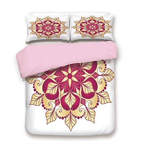 (Pink Duvet Cover Set,Twin Size,Folk Shabby Chic Floral Ethnic Pattern with Arabesque Effects Boho Elegance Image,Decorative 3 Piece Bedding Set with 2 Pillow Sham,Best Gift For Girls Women,Yellow Mage)