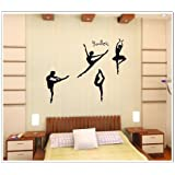 Free Will Four Girls Perform Ballet DIY Wall Decal Super for Girls' Room Wall Decor