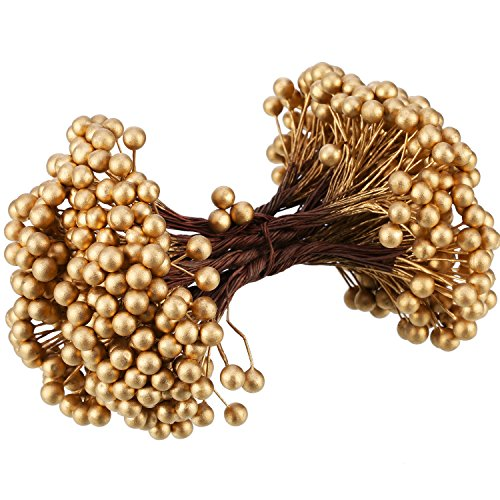 BBTO Artificial Holly Berries on Wire Stems, 250 Stems 500 Pieces 8 mm Fake Berries Tree Decorations Wreath Craft Use Wedding Party Favor (Gold)