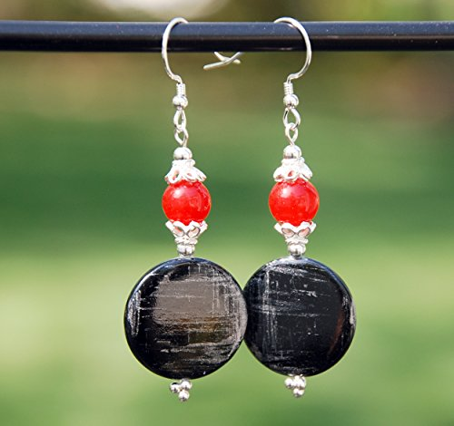 (Black and grey shell earrings with Red agate, sterling and bali silver)