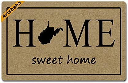 Artsbaba Doormat Home Sweet Home State Map Door Mat Monogram Non-Slip Rubber Doormat Non-Woven Fabric Floor Mat Indoor Entrance Rug Decor Mat 23.6 x 15.7 Inches – West Virginia