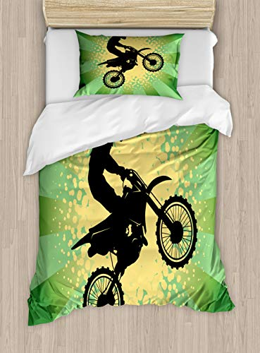(Lunarable Dirt Bike Duvet Cover Set Twin Size, Starburst Stripes and Halftone Style Dots Background Rider, Decorative 2 Piece Bedding Set with 1 Pillow Sham, Pale Green Black Pale Yellow)