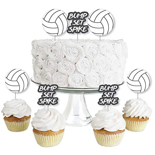 - Bump, Set, Spike - Volleyball - Dessert Cupcake Toppers - Baby Shower or Birthday Party Clear Treat Picks - Set of 24