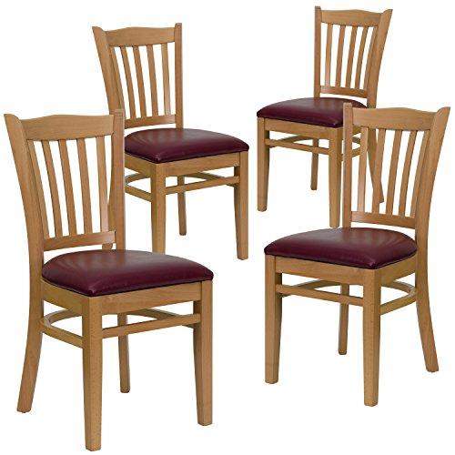 Flash Furniture 4 Pk. HERCULES Series Vertical Slat Back Natural Wood Restaurant Chair - Burgundy Vinyl Seat ()