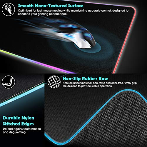 Non-Slip Rubber Base Computer Keyboard Mat Large Extended Soft Led Mouse Pad 31.5 x 11.8 inch Touch Control NPET MP02-XJ RGB Gaming Mouse Pad Durable Stitched Edges 12 Lighting Modes