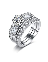 UMODE Jewelry Enhancer Guard 1.25ct Round Cut Cubic Zirconia Engagement Wedding Ring Set for Women