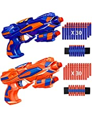 [Gift for Toy] Ainoibo 2 Pack Blaster Toy Guns for Kids with 2 Foam Dart Wrist Band and 60 Pack Refill Soft Foam Darts, Leisure Toys, Children's Toys Suitable for Outdoor Toy and Indoor Toy