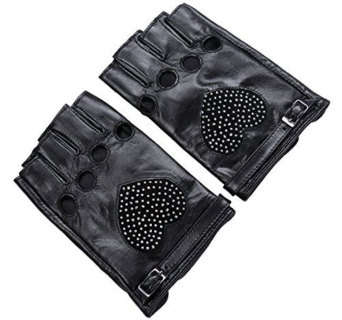 Ambesi Women's Rocket Studded Fingerless Nappa Leahter Driving Gloves Black XL (Leather Nappa Studded)