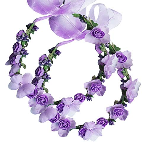 Flower Crown Headband Wreath Garland Hair Bands Floral Wedding Bridal Hair Hoop Women Leaf Ribbon Party Decoration Headdress Headwear Christmas Handmade Headpiece Hair Accessories 2 Pack Purple