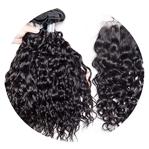 Malaysian Water Wave 3 Bundles with Closure Human Hair Bundles with Closure Remy Hair Weave 4 Pcs/lot Virgo Hair,24 24 24 & Closure20,Middle Part -