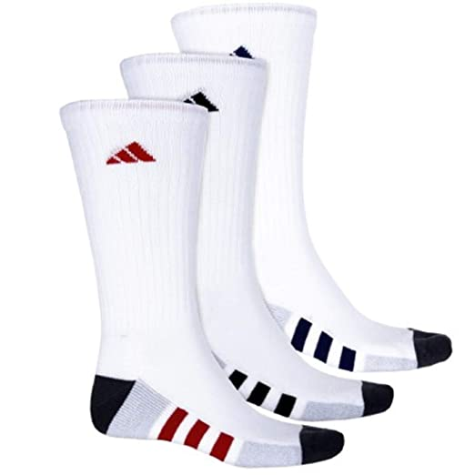 9c5dbcae26cfb Image Unavailable. Image not available for. Color: Adidas Men's Color-Block  3-Stripe Cushioned Moisture Wicking Crew Socks ...