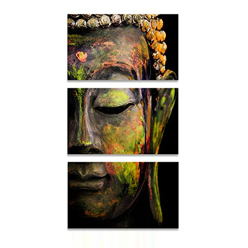 Wood Effect Buddha Head - Buddha Wall Art Abstract Buddhist Canvas Print Home Decor for Living Room Contemporary Pictures 3 Panel Large Poster Printed Painting Artwork Framed Ready to Hang (28
