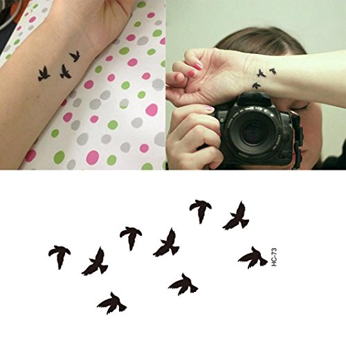 Fullfun Women Child Removable Waterproof Temporary Tattoo,Birds Fake Tattoo Art -