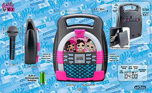 eKids LOL Surprise! Remix OMG Bluetooth Karaoke Machine MP3 Player Portable with LED Disco Light Show, Store Hours of…
