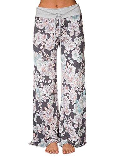 iChunhua Women's Comfy Stretch Floral Print Drawstring Palazzo Wide Leg Lounge Pants(2XL,Grey)