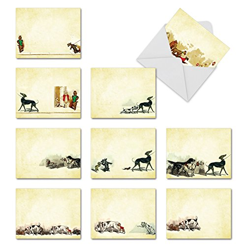 M3979 Hot Dogs: 10 Assorted Blank All-Occasion Notecards Feature Vintage Dog Illustrations, w/White Envelopes - Fold Over Cards