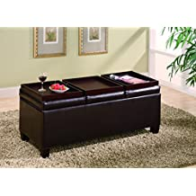 Coaster Home Furnishings Storage Ottoman Coffee Table with Trays, Brown Vinyl