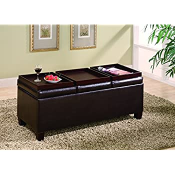 Amazoncom Kenwell 2TrayTop Storage Ottoman Coffee Table by