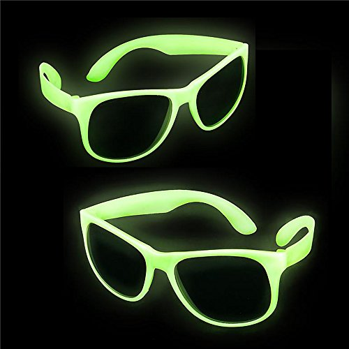 Glow In The Dark Sunglasses - Dark Lens - Glow Party Supplies Great For Party (2 Pack) By Dragon - Too Sunglasses Dark