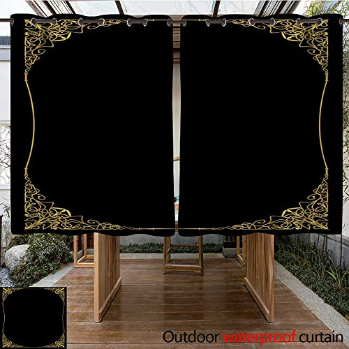 0utdoor Curtains for Patio Waterproof Luxurious Golden Frame in Art Deco Style Rich Decorated Corner Rectangle Composition Oval Copy Space Golden Filigree geo W63 x L72