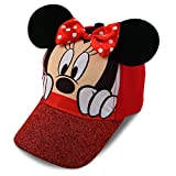 Disney Little Girls Minnie Mouse Character Cotton Baseball Cap, Age 2-7 (Toddler Girls - Age 2-4 - 51CM, Red)
