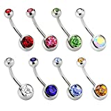 Charisma 14G Stainless Steel Belly Button Rings Rhinestone Navel Bars Labret Tongue Lip Tragus Ear Stud 8 Colors Packs