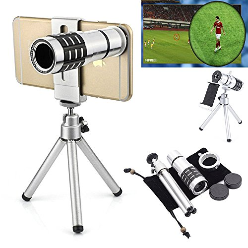 Aluminum 12x or 18x iPhone Telephoto Lens For Smartphone Lens Cell Mobile Phone Lens Optical Telescope Camera Zoom Lens + Clip Holder + Tripod Kit Universal For Samsung and other Phones (12x Lens Kit) from Motor-acc