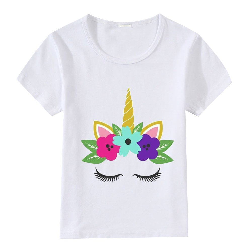 Baby Toddler Kid Girl Unicorn T-Shirt Summer Tops Short Sleeve Adorable Tee Shirt Birthday Gift Clothes 3XL