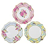 Talking Tables Truly Scrumptious Floral Plates for a Tea Party, Wedding, Multicolor (12 Pack), Multicolored(TS4-MED-PLATE)