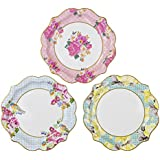 Talking Tables Truly Scrumptious Floral Plates, 12 count, for a Tea Party, Wedding