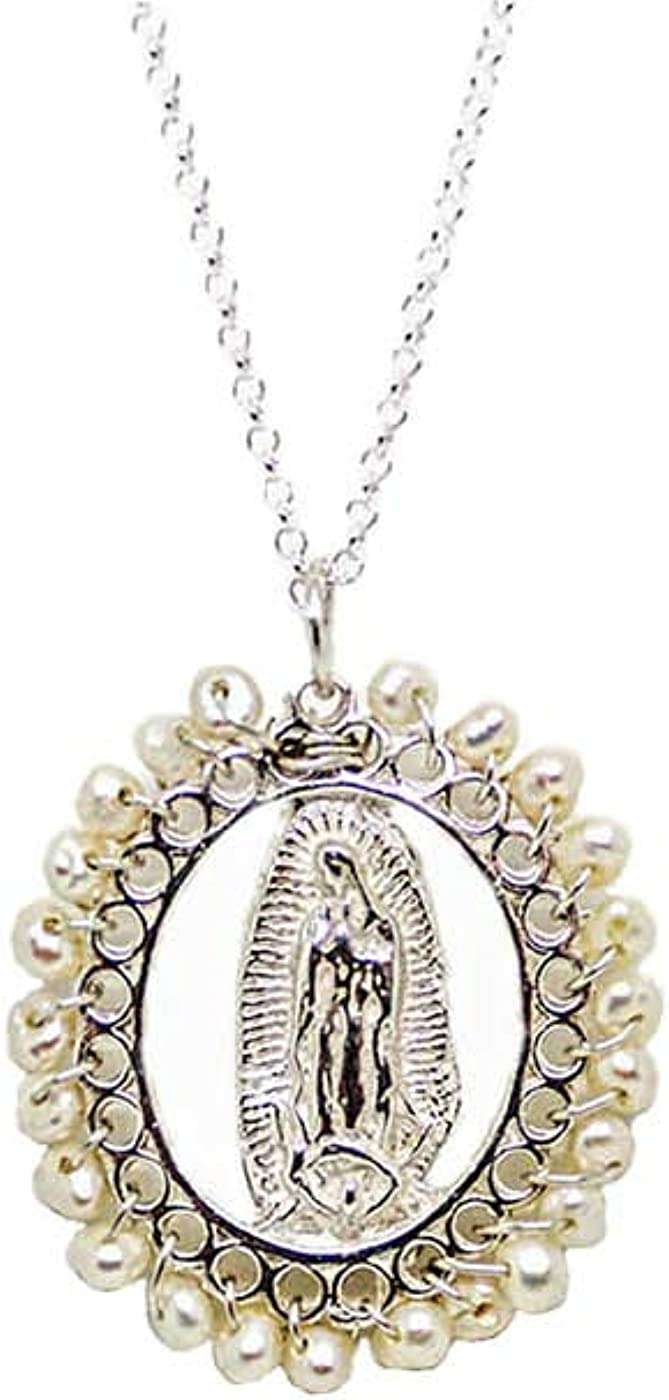Kokomorocco Medalla Virgen de Guadalupe de Plata de Ley Bordeada de Perlas con Cadena Ajustable Regalos Originales Regalo Dia de la Madre