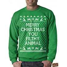 Vintage Fly Mens Ugly Christmas Sweater Merry Christmas You Filthy Animal Pullover Sweatshirt