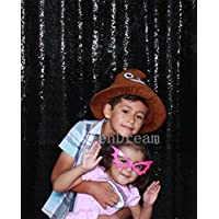 QueenDream 7ft x 7ft(84x84Inch) Wedding Ridescent Black Sequin Backdrop Photo Booth Photography black sequin backdrop