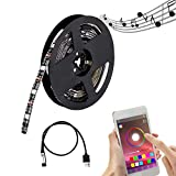 comboss USB TV Backlight, Smart Phone Control, 6.56ft 60LEDs 5050 RGB Flexible Sync to Music Color Changing Light Strip for 50 to 60 in HDTV