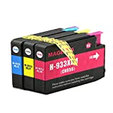 PERSEUS 933 Ink Cartridges for HP 933XL Color Pack(1 933XLC,1 933XLM,1 933XLY) High Yield XL Compatible HP Officejet 6100 6600 6700 7110 7610 7612 7510 7512 Printer